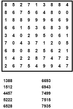 100 Number Search Puzzles